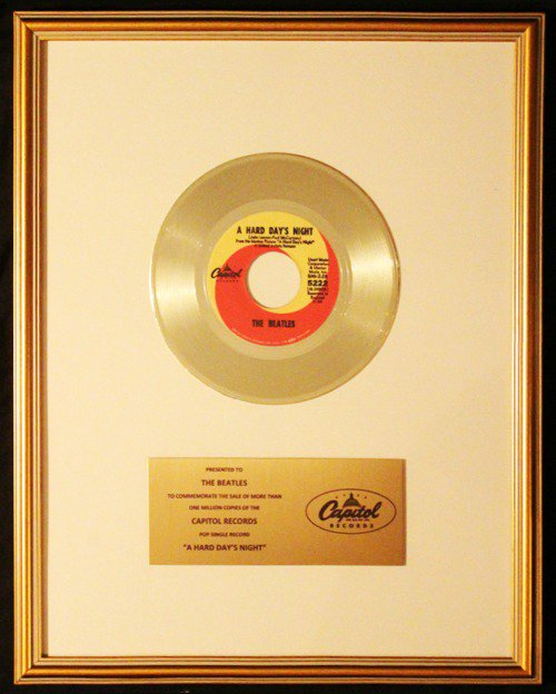 The Beatles A Hard Day's Night 45 Gold Non RIAA Record Award Presented To Beatles
