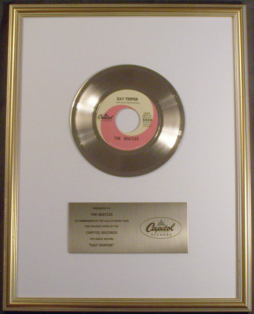 The Beatles Day Tripper 45 Gold Non RIAA Record Award Presented To Beatles