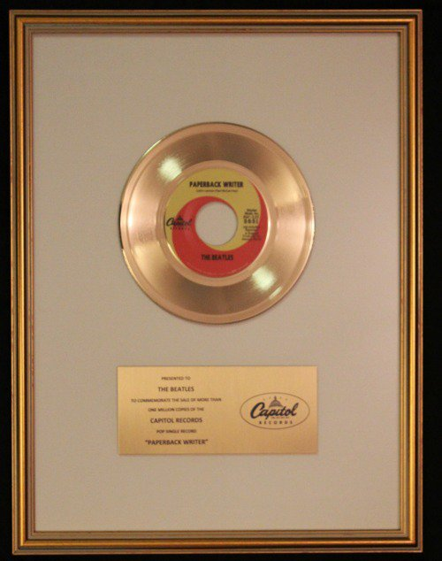 The Beatles Paperback Writer 45 Gold Non RIAA Record Award Presented To Beatles
