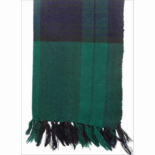Himalayan Yak Wool Green Blue Check Shawl ,NEPAL