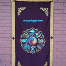 Astamangal Symbol with Ying-Yang Embroidery Maroon Door Curtain