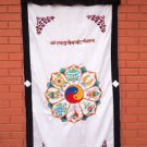 Astamangal Symbol with Ying-Yang Embroidery White Door Curtain