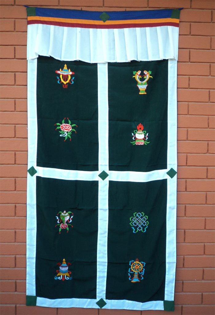 Green Eight Auspicious Symbol (Astamangal) Embroidery Tibetan Door Curtains