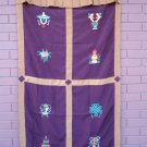Maroon Eight Auspicious Symbol (Astamangal) Embroidery Tibetan Door Curtains