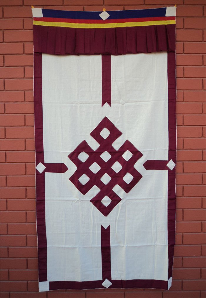 Maroon Endless Knot Patch Tibetan Cotton Door Curtains