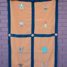 Orange Eight Auspicious Symbol (Astamangal) Embroidery Tibetan Door Curtains