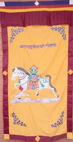 Orange WindHorse Embroidery Tibetan Buddhist SpunSilk Door Curtain NEPAL