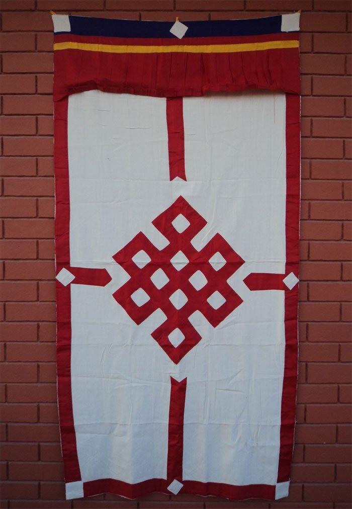 Red Endless Knot Patch Tibetan Cotton Door Curtains