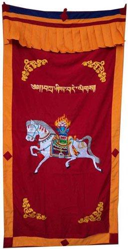 Red-2 WindHorse Embroidery Tibetan Buddhist SpunSilk Door Curtain NEPAL
