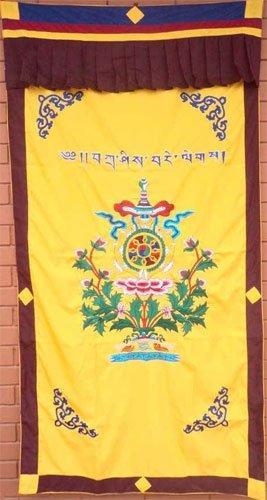 Yellow Eight Auspicious Symbol Combined Spunsilk Door Curtain NEPAL