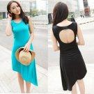 Free Shipping Women Summer Casual Irregular Hem Hollow Out Back Sleeveless One-piece Dress