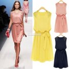 Free Shipping Ladies Handmade Bead Shoulder Bow Belt Sleeveless Pleated Dress