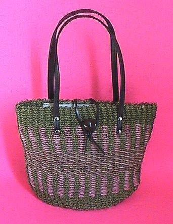 Beautiful Handmade Straw Tote Purse Handbag