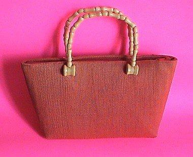 Cute Handmade Straw Tote Purse Wooden handle Handbag