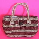 Cute Handmade Straw Tote Purse Wooden handle Handbag