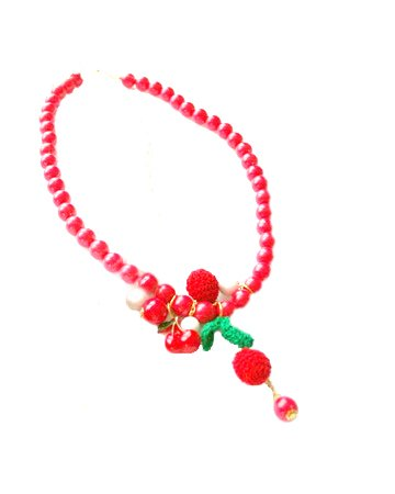 Cherry Red Bead Necklace