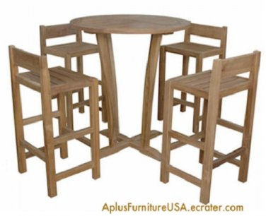 NEW Round Table & 4 Stool Chairs Tall Solid Teakwood Outside Dining Bar Set