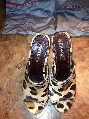 ��SEXY��HTF Authentic Prada Leopard Print Clogs/Mules/Heels (toeless) - Sz: 7.5