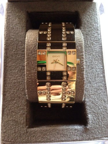 """���MOTHERS DAY SALE��Auth. Gold/Diamond """"BLING"""" Ladies DKNY Bracelet Cuff Watch"""
