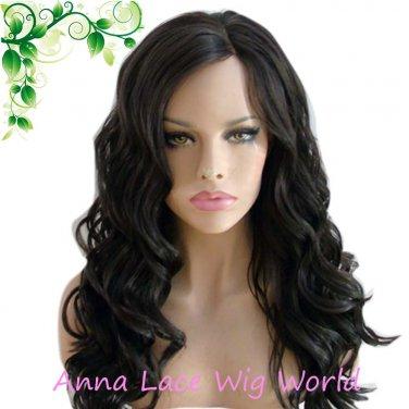 synthetic Mono top  deep wave dark brown wig for women