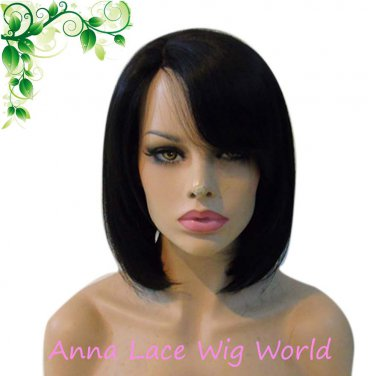 synthetic mono top LONG BOB 14inch dark brown wig for women
