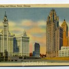 Wrigley Building Tribune Tower Chicago Illinois postcard