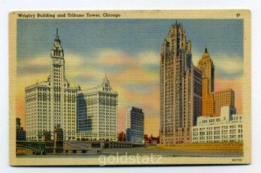 Wrigley Building Tribune Tower Chicago Illinois postcard