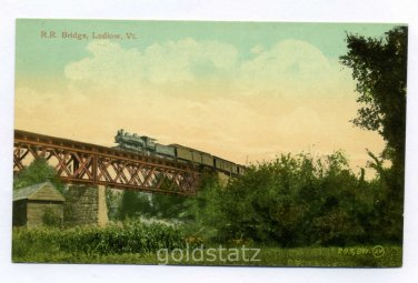 Railroad Bridge at Ludlow Vermont postcard