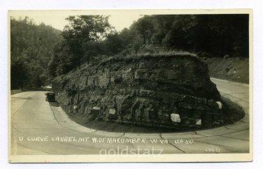 U Curve Laurel Mountain West of Macomber West Virginia on US 50 RPPC postcard