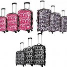 Women's Blingalicious Luggage 3 Pieces Set Crown Printed - Pink, Black, Purple