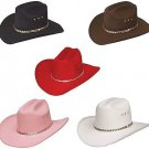 Western Faux Felt Cowboy Hat Black, Brown, Red, Pink, White Colors - ALL SIZES