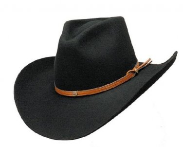 Western Nashville Black Wool Cowboy Hat Rodeo Cattleman Adult Men Woman ALL SIZE