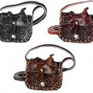 "Western Express Women's Small Hand Tooled Leather Saddle Chnage Purse 3""x 3"""