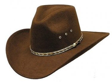 Western John Brown Pinch Front Faux Felt Cowboy Hat Cattleman Brown - S,M,L,XL