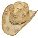 Western Women's Straw Hat with Diamond Holes Cowgirl Cowboy Brown Tone S,M,L,XL