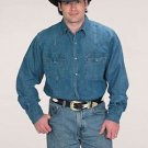 Western Express Cowboy Men's Solid Color Cotton Long Sleeves DENIM Western Shirt
