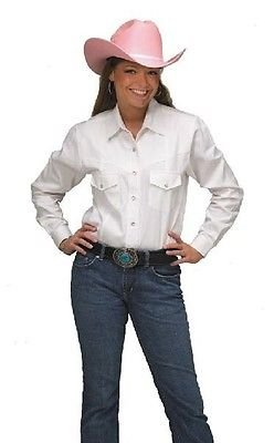 Western Express Cowboy Women's Solid Color Cotton L-Sleeves WHITE Western Shirt