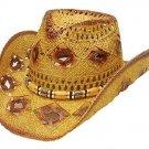 Western Ladies Straw Cowgirl Hat w/ Diamond Holes Reddish Tone Cowboy S,M, L,XL