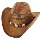 Western Brockway Brown Straw CowboyHat Bone Rodeo Beach Adult & Kids S,M,L,XL