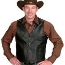 Western Express Black Smooth Leather Men's Vest - S,M,L,XL,2X,3X,4X Sizes