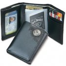 Licensed Jack Daniels Signature Trifold Men's Leather Wallet w/ Metal Logo BLACK