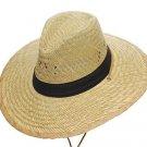 Western CowboySunny Beach Straw Hat with Black Band & Chin Strap - S,M,L,XL