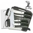 Elk Ridge 9 Piece Outdoor Big Game ER-190 Hunting Knife Kit With Case 440 Carbon