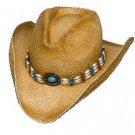 Western Raffia Straw Cowboy Hat  w/ Turquoise & Beige Beaded Hatband - ALL SIZES