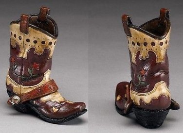 Western Express Cowboy Boot Pencil Holder Flower Design 4-1/2 x 4-1/2 GIFT BOXED