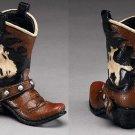 Western Express Cowboy Boot Pencil Holder Cowboy & Horse Design 4-1/2 x 4-1/2
