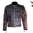 Men's Motorcycle Jacket Genuine Leather Biker Jacket Racing Jacket - ALL SIZES