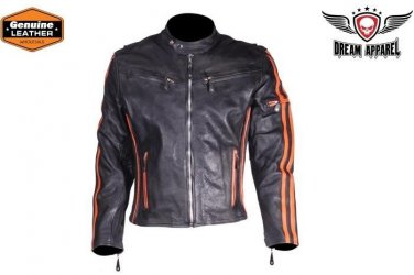 Men's Motorcycle Jacket Genuine Leather Biker Jacket Racing Jacket - ALL SIZES