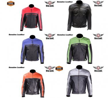 Men's Motorcycle Racer Jacket with Reflective Piping Leather Biker - ALL SIZES