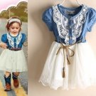 Ready for Shipping 24 Months Rodeo Denim Cowgirl Tutu Dress Barn Wedding Outfit for Girls